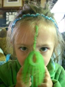 "Girl Twin learns the hard way a Koosh Ball sticks in long hair"""