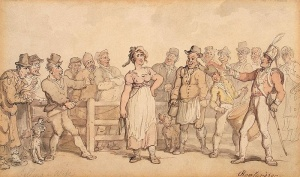 """Selling a Wife"" (1812) by Thomas Rowlandson"